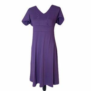 Eddie Bauer Purple Cotton Short Sleeve Dress M